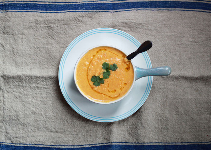 5-Ingredient Roasted Carrot Ginger Soup from kitchentreaty.com