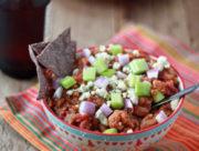 Crock Pot Buffalo Cauliflower Chili from kitchentreaty.com