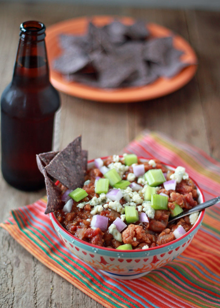 Crock Pot Vegetarian Buffalo Chili - Veggie chili, red-hot buffalo style! This easy meatless slow-cooker chili recipe hits the spot whether it's game day or any day.