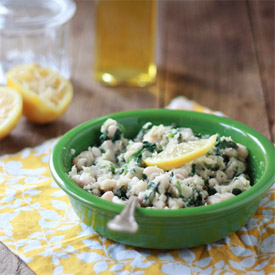 Mashed White Beans with Spinach, Garlic, and Lemon
