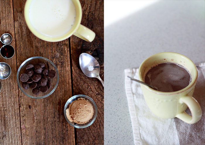 Super easy, two-minute, from-scratch hot chocolate by the mug from kitchentreaty.com.