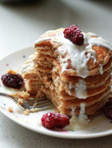 Whole Wheat Vanilla Yogurt Pancakes from kitchentreaty.com