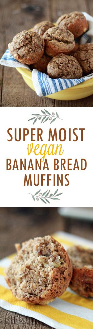 Super-Moist Vegan Banana Bread Muffins recipe. No one can tell they're vegan! Like banana bread, but in muffin form.