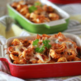 Cheesy Baked Tortellini with Optional Ground Beef | kitchentreaty.com