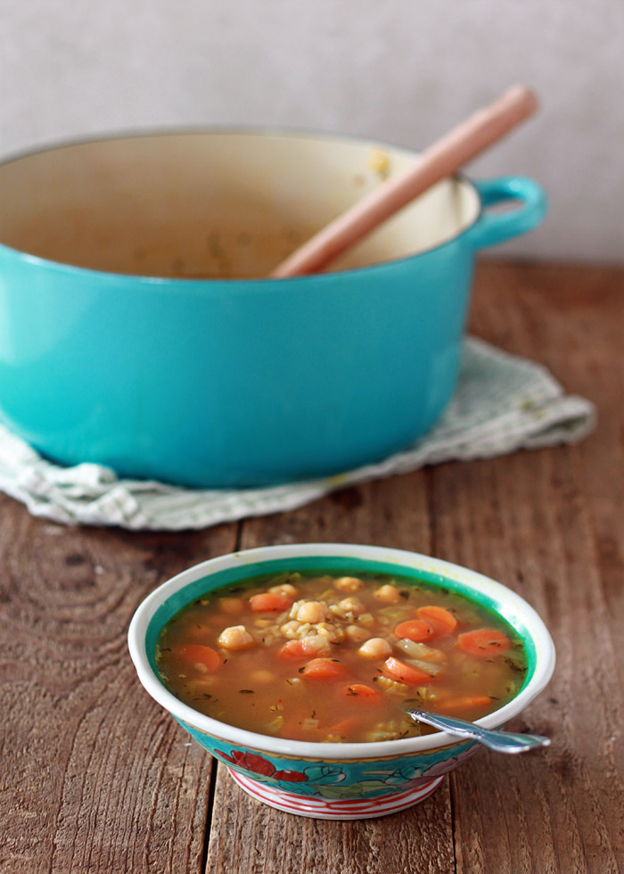 Chickpea and Rice Soup recipe - This vegetarian version of chicken and rice soup is just as comforting and delicious, but no bird! Vegan option.