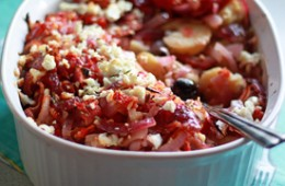 Potatoes Baked with Tomatoes, Olives, & Feta