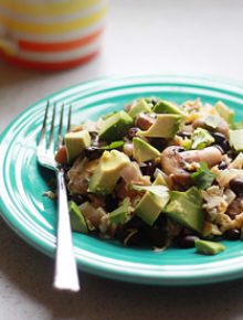 Black Bean, Mushroom, and Avocado Breakfast Scramble