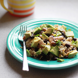 Black Bean, Mushroom, & Avocado Breakfast Scramble