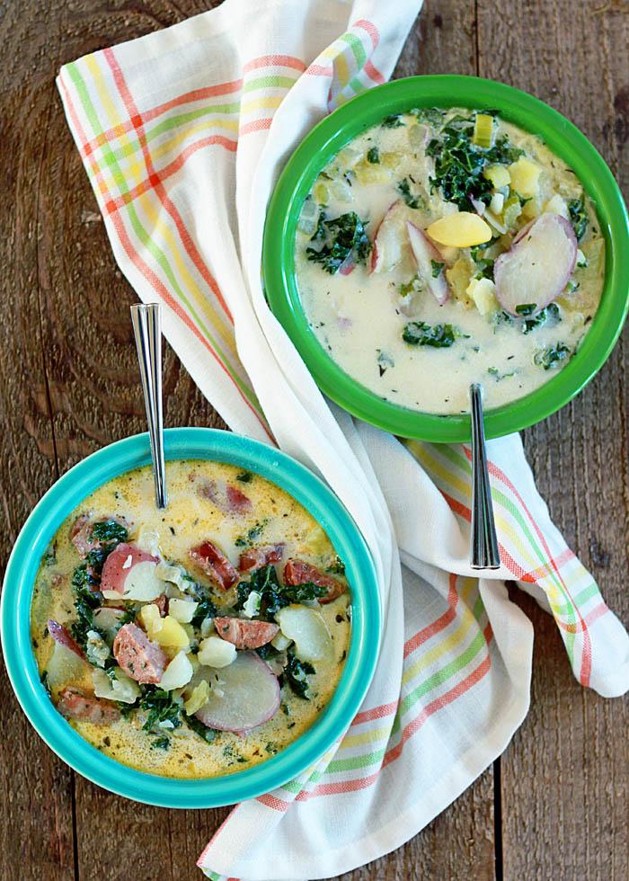 Creamy Two Potato Kale Soup with Optional Sausage | kitchentreaty.com