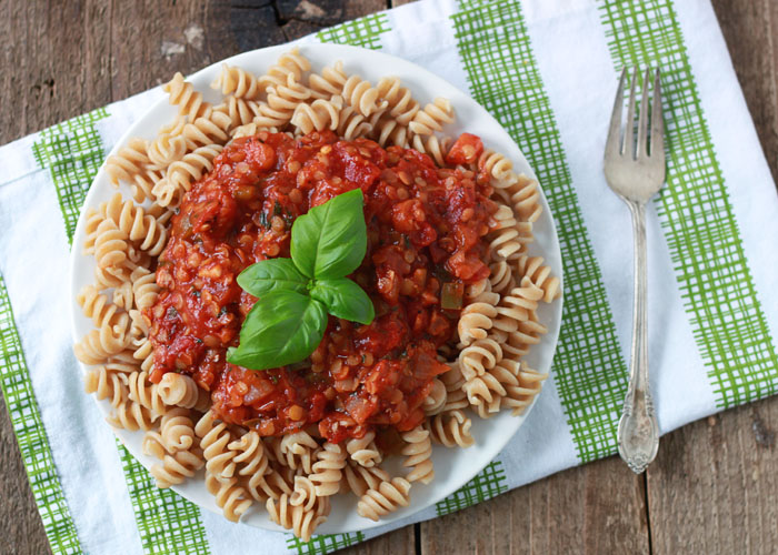 Hearty Red Lentil Pasta Sauce - With a hefty dose of protein in every single serving, this hearty, flavorful marinara makes just about anything a meal. Perfect for making ahead and freezing, too!