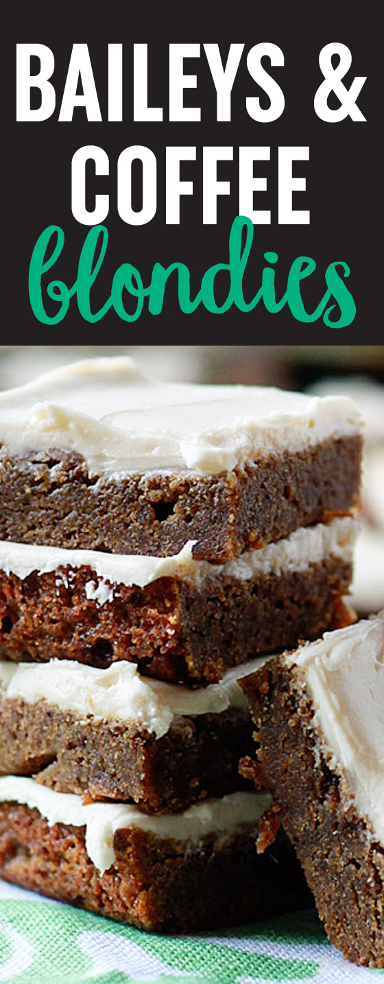 Here's your St. Patrick's Day dessert! Baileys & Coffee Blondies, a decadent take on Baileys and coffee. Espresso flavors the rich, caramel-y base; Irish Cream spiked buttercream frosting takes them over the top.