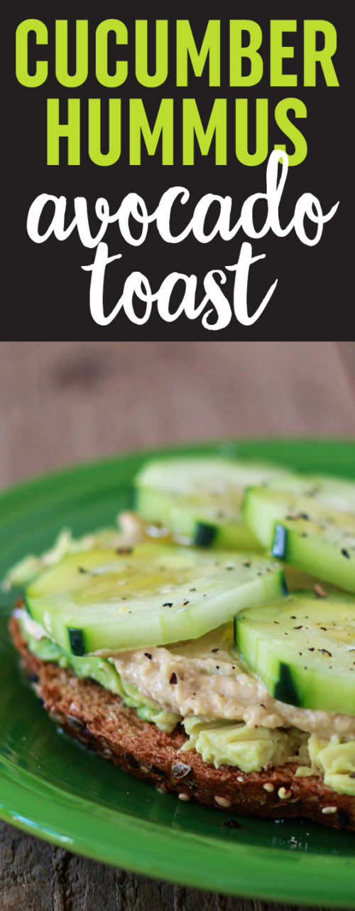 Cucumber Hummus Avocado Toast recipe - Crunchy cukes, creamy hummus, and glorious avocado join forces in pretty much the easiest lunch or snack ever.