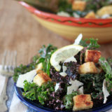 Kale Caesar Salad with Tofu Croutons & Kalamata Caesar Dressing | Kitchen Treaty