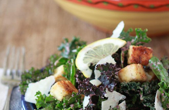 Kale Caesar Salad with Tofu Croutons & Kalamata Caesar Dressing | Kitchen Treaty