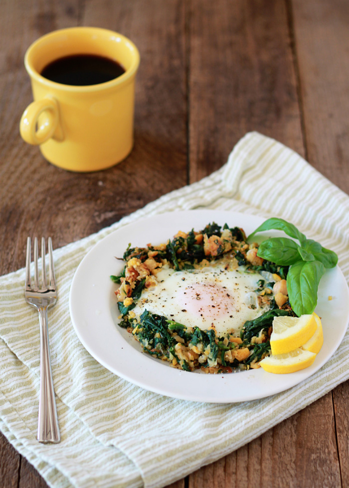 Lemony Egg in a Spinach-Chickpea Nest - Five minutes to a satisfying, wholesome, protein-rich breakfast! Sunny lemon brightens up breakfast with this super-simple egg-in-a-nest for one.