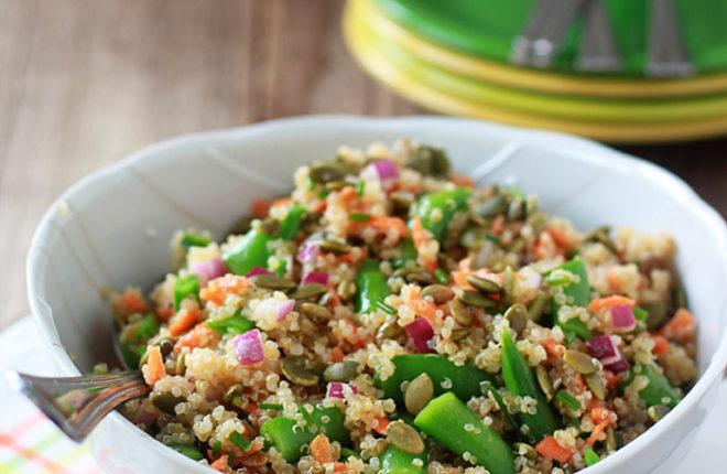 Quinoa Confetti Salad with Sugar Snap Peas & Toasted Pepitas