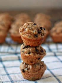 Peanut Butter Banana Chocolate Chip Mini Muffins