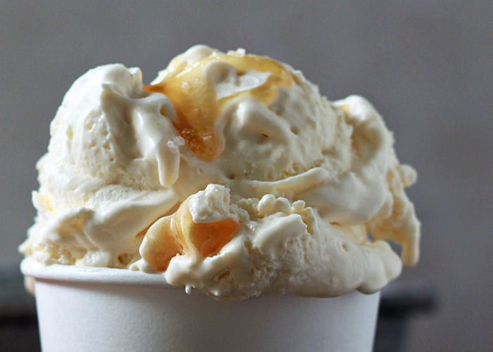 Sea Salt + Honey Ice Cream - an irresistibly savory/sweet combination, plus only four ingredients, five minutes to mix together, and no ice cream machine needed!