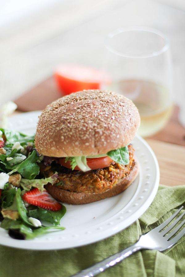 45 Veggie Burger Recipes: Sweet Potato Veggie Burgers from The Roasted Root
