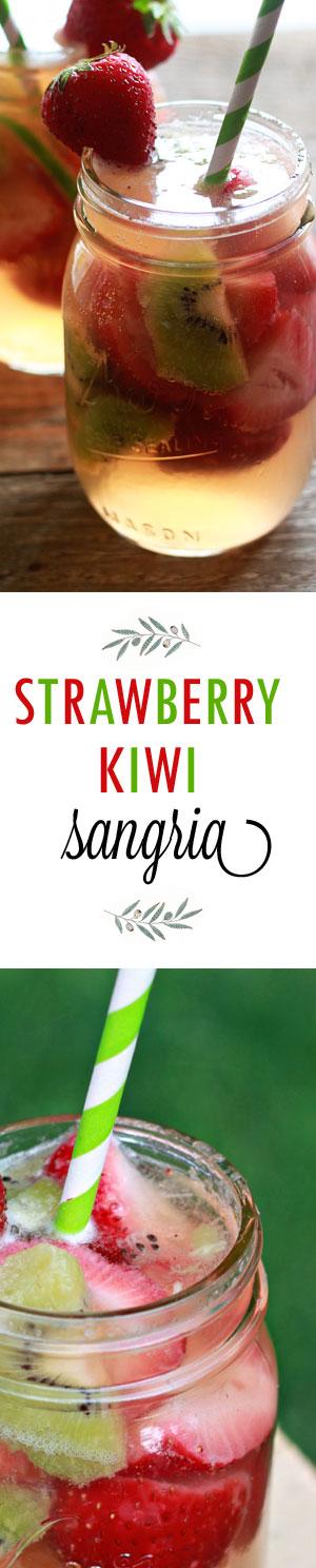 White Strawberry-Kiwi Sangria - Juicy strawberries, sweet kiwi, light white wine, and rum. So perfect for hot days!