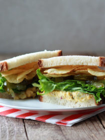 Chickpea Salad Sandwiches with Potato Chips & Pickles