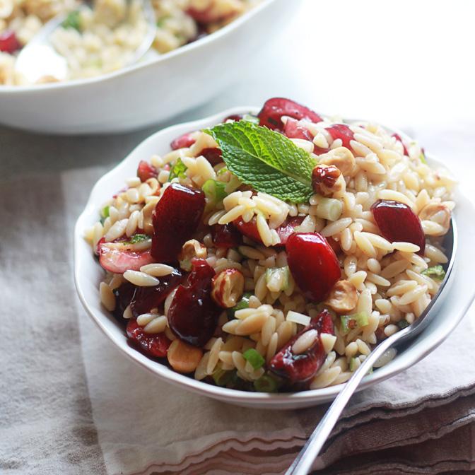 Cherry Hazelnut Orzo Salad