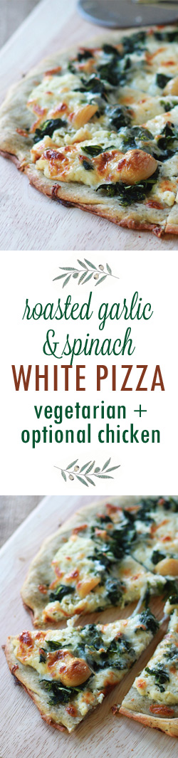 Roasted Garlic & Spinach White Pizza with Optional Chicken