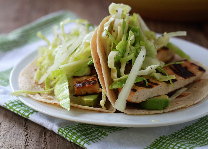 Grilled Tofu Tacos with Walla Walla Sweet Onion Slaw (and Optional Chicken)