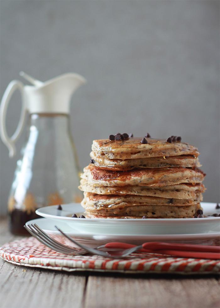 Chocolate Chip Chia Pancakes (a healthier chocolate chip pancake!)