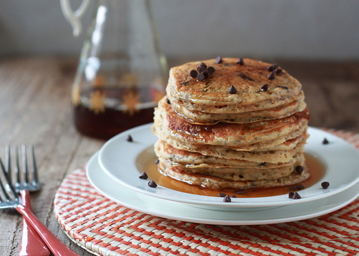 Chocolate Chip Chia Pancakes (a healthier chocolate chip pancake!)
