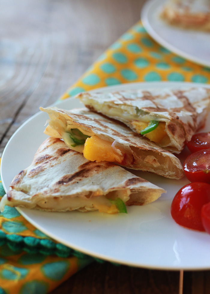 Grilled Peach Fontina Quesadillas with Optional Chicken