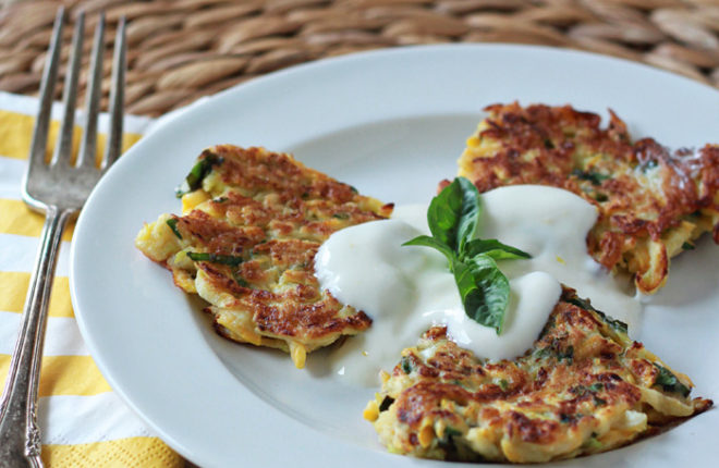Summer Squash Fritters with Fresh Basil & Lemony Sour Cream