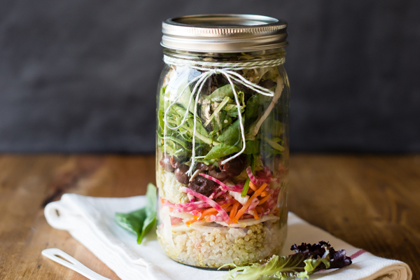 5 Perfectly Portable Lunchbox Salads | Rainbow Salad in a Jar with Avocado Hummus