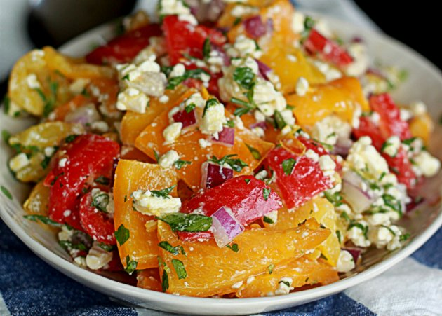 5 Perfectly Portable Lunchbox Salads | Roasted Pepper Feta Salad