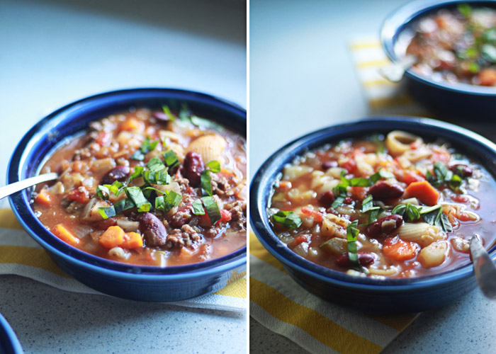 Crock Pot Vegetarian Pasta e Fagioli (with Optional Ground Beef)