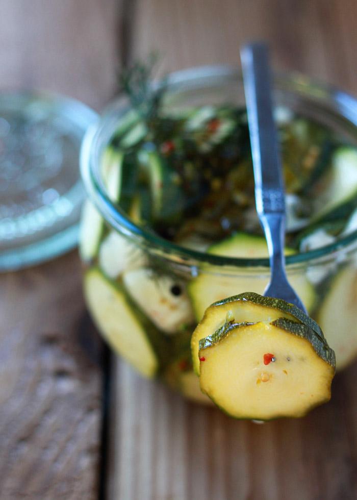 Spicy Zucchini Refrigerator Pickles