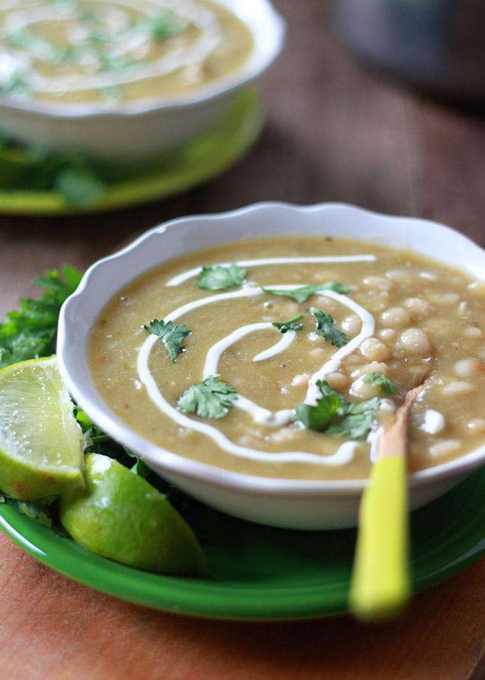 Vegetarian Chili Verde with White Beans (and optional chicken for the meat-eaters)