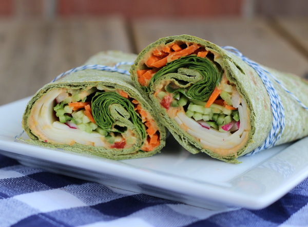 5 Dinners in 10 Minutes or Less | Provolone & Red Pepper Hummus Wrap from Rachel Cooks