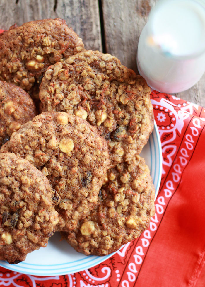 Carrot Cake Cowboy Cookies - Cookies meet carrot cake in these big ol', packed-full, palm-size cookies