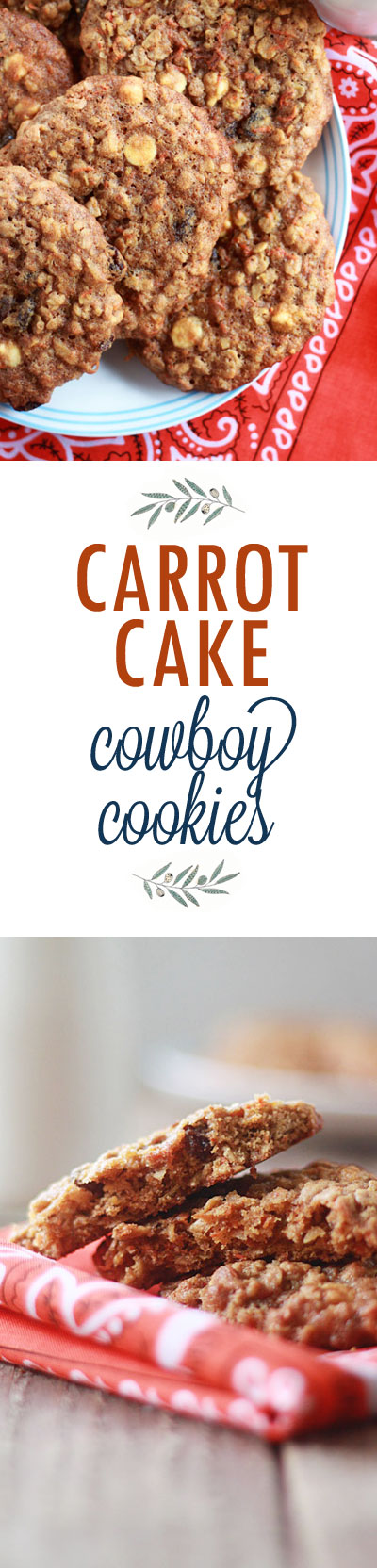 Carrot Cake Cowboy Cookies recipe - Cookies meet carrot cake in these big chewy cookies packed with goodies like shredded carrots, coconut, and white chocolate chips.