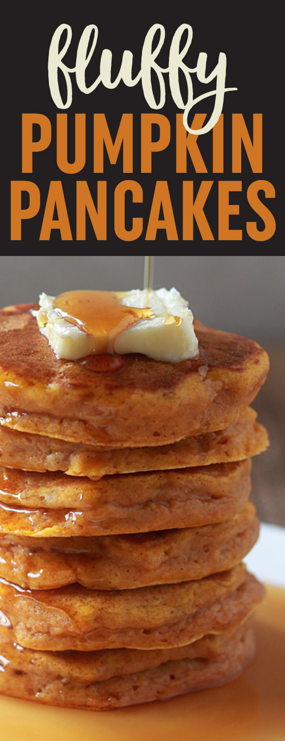Usher in fall with these tall, fluffy, and moist pumpkin pancakes. The perfect pumpkin pancake recipe!