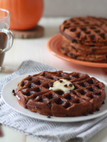 Chocolate Chip Pumpkin Waffles - Fluffy on the inside, crisp around the edges, and seriously kid-friendly.
