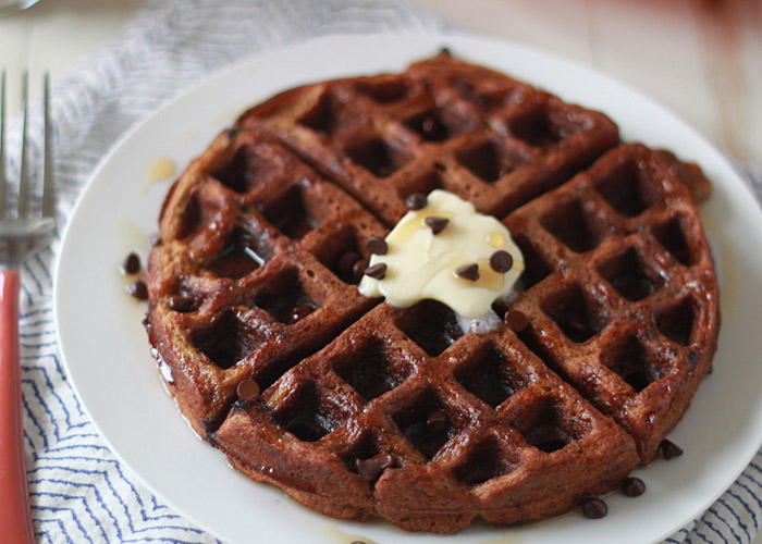 Chocolate Chip Pumpkin Waffles - Fluffy on the inside, crisp around ...