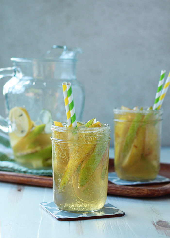 Ginger Pear White Sangria - Sweet Autumn pears and zippy ginger join up in this spiced sangria that couldn't be more perfect for the season.