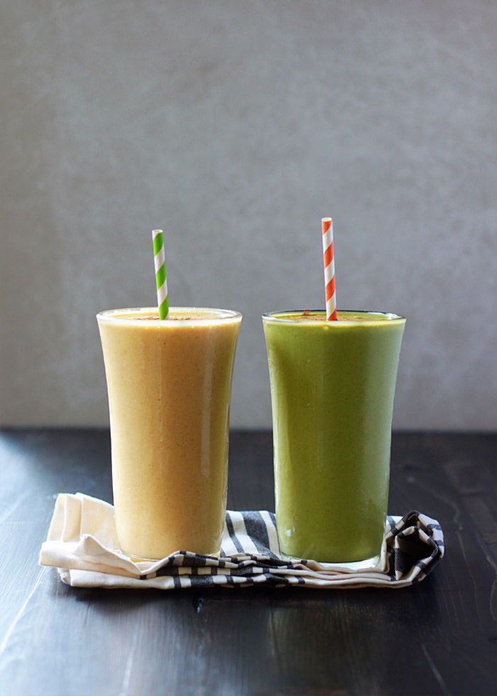 Vegan Pumpkin Pie Smoothies Two Ways - These rich and creamy cashew-based, dairy-free smoothies taste just like pumpkin pie, whether you go green or stay orange.