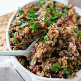 Herbed Wild Rice and Quinoa Stuffing - Everyone will love this flavor-filled stuffing - and nobody will guess its little secret: it's vegetarian, vegan, and gluten-free! Plus, the addition of protein-rich quinoa gives this hearty stuffing main-dish cred - perfect for those that prefer to skip the turkey.
