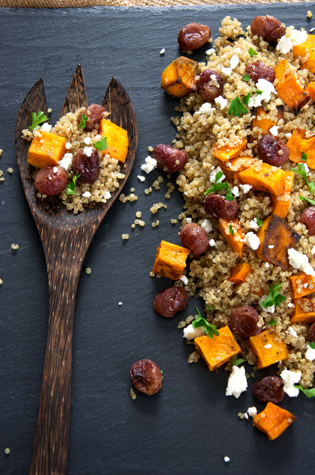127 Vegetarian Thanksgiving Recipes Everyone Will Love - Caramelized Butternut Squash Quinoa Salad with Goat Cheese and Roasted Grapes from The Housewife in Training Files