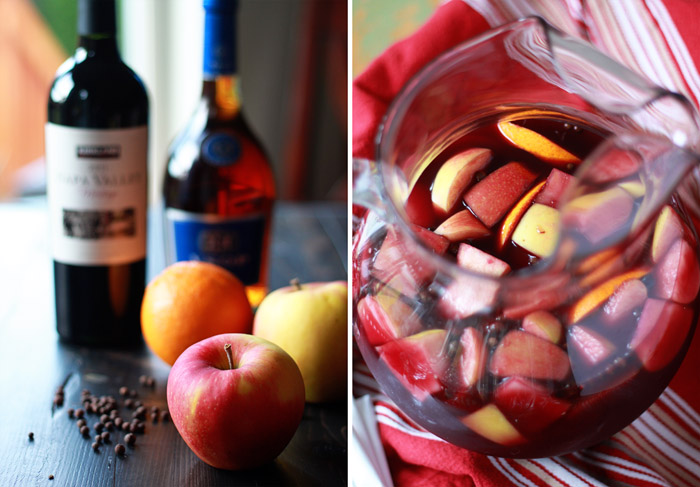 Classic Red Sangria Recipe - A simple (but potent!) red wine sangria with apples, oranges, allspice, and brandy. A splash of zesty ginger beer tops it off. Beware, this goes fast!