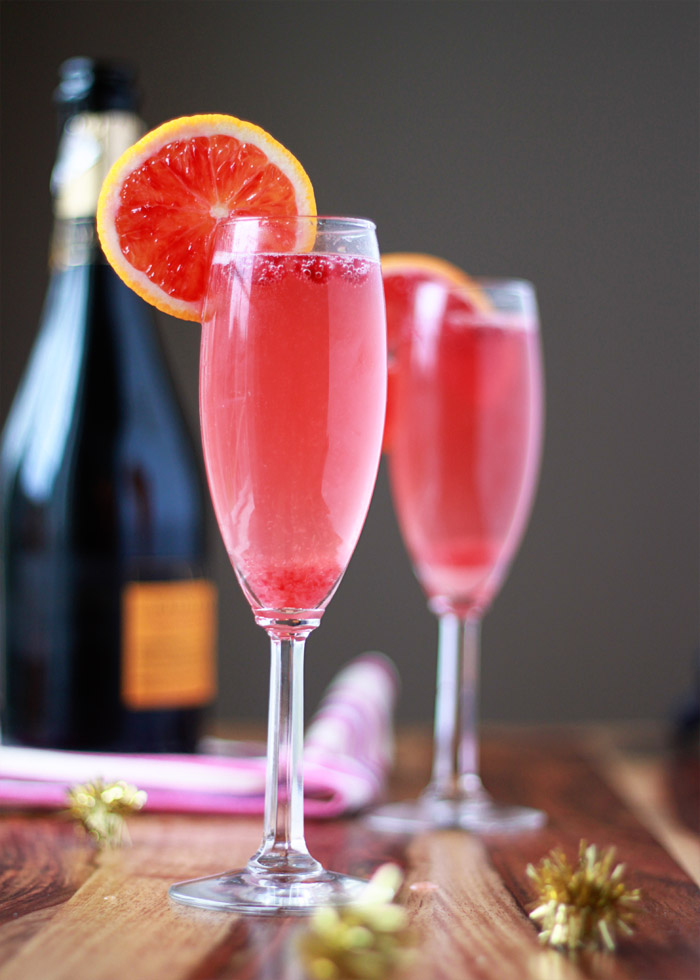 Blood orange pomegranate champagne cocktails kitchen for Cocktail orange