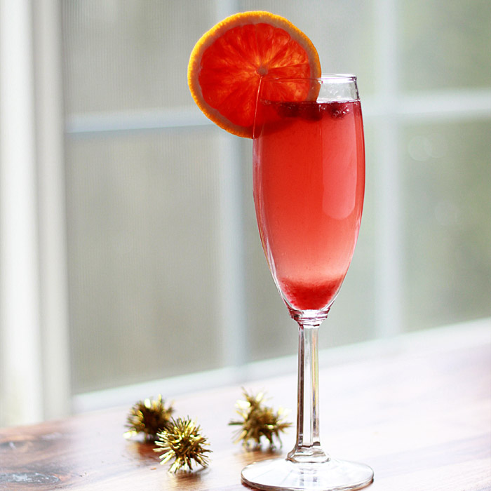 Blood Orange & Pomegranate Champagne Cocktails - Kitchen Treaty